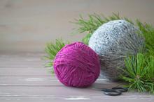 Fuchsia And Grey Tweed Yarn On...
