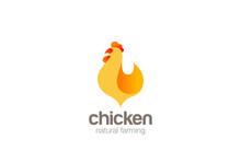 Chicken Farm Logo Design Vector. Natural Farming Logotype Icon