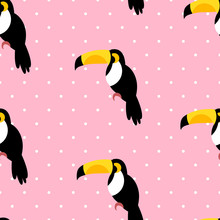 Seamless Pattern In Polka Dot With Toucans On Pink Background. Vector.