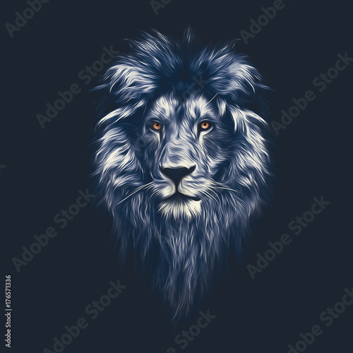 Fototapety, obrazy: Portrait of a Beautiful lion, lion in the dark, oil paints, soft lines