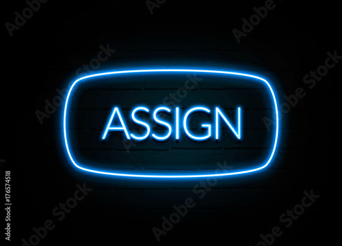 Assign  - colorful Neon Sign on brickwall Canvas Print