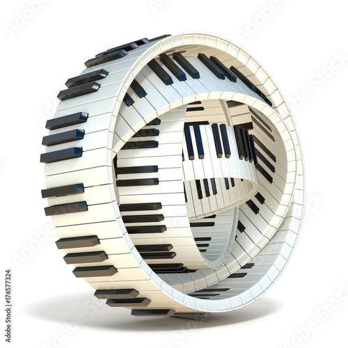 Zdjęcie XXL Streszczenie klawiszy fortepianu 3D