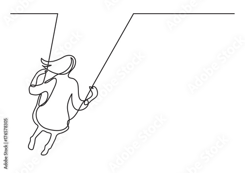 Obraz continuous line drawing of girl swinging on swing - fototapety do salonu