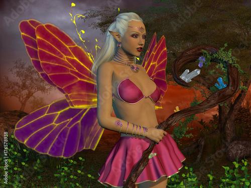 Plakat Fairy Raina - Wróżka jest stworzeniem o mitach i legendach, ma skrzydła i magiczne moce w bajkowym lesie.