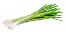 Green Onion Isolated On The Wh...
