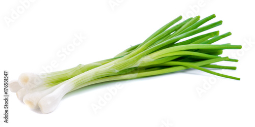 Foto green onion isolated on the white background