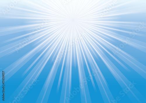 Fotografie, Obraz  放射線状の背景|集中線|青の背景と太陽の日差し|Radial background