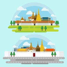 The Grand Palace, In Bangkok Travel And Illustration