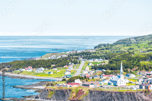 Fotografie, Obraz  Aerial cityscape skyline view of Grande-Vallee village town and Saint Lawrence r
