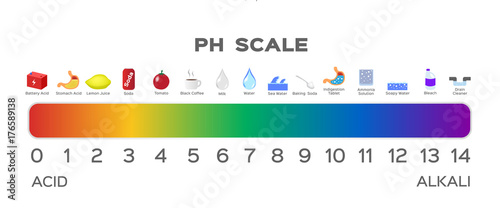 Foto ph scale vector graphic . acid to base