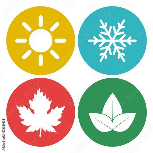 Fotografie, Obraz  Four seasons, season icon