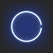 Circle neon lamp wall sign isolated on transparent background. Vector illustration.