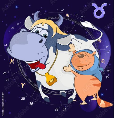 Deurstickers Babykamer Illustration of a Zodiac Signs Taurus. Cartoon Character