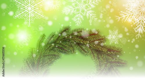 Fototapeta Christmas background with snowflakes and Christmas wreath, obraz na płótnie