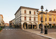 Montagnana, Italy - August 6, 2017: architecture of the quiet streets of the old city in the early morning.