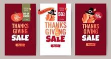 Set Of Thanksgiving Sale Carto...