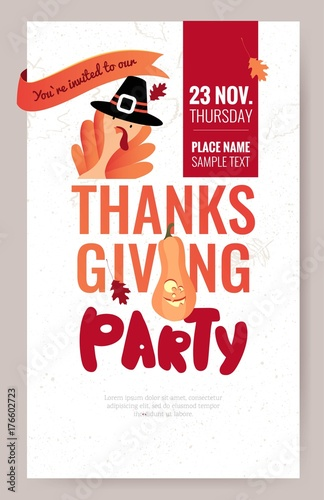 Fényképezés  Invitation poster for thanksgiving dinner or party