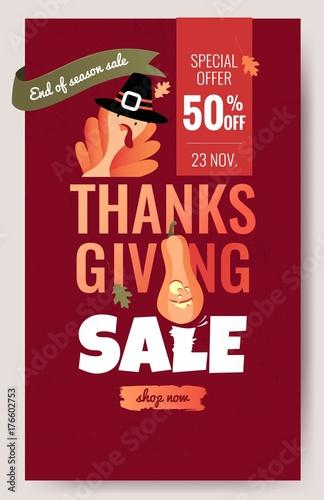 Fényképezés  Thanksgiving sale cartoon poster