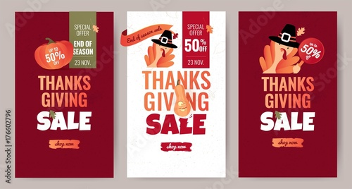 Obraz na plátne  Set of Thanksgiving sale cartoon posters