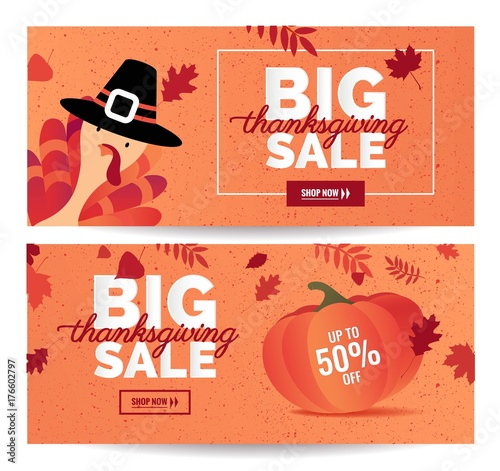 Valokuva Set of Thanksgiving sale cartoon posters
