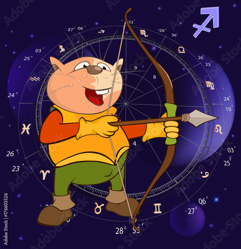 Deurstickers Babykamer Illustration of a Zodiac Signs Sagittarius. Cartoon Character