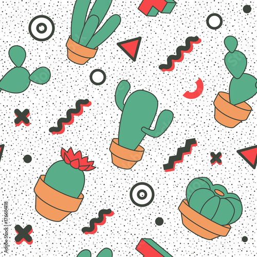 Fototapeta Memphis Seamless Pattern Abstract Trendy Background Retro Style Modern Poster, Card Design with Geometric Elements and Cactus Vector illustration