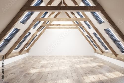 Obraz na plátně Empty attic room interior