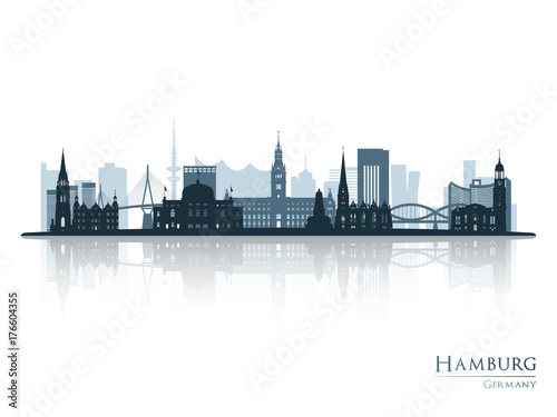 Hamburg skyline silhouette with reflection. Vector illustration.
