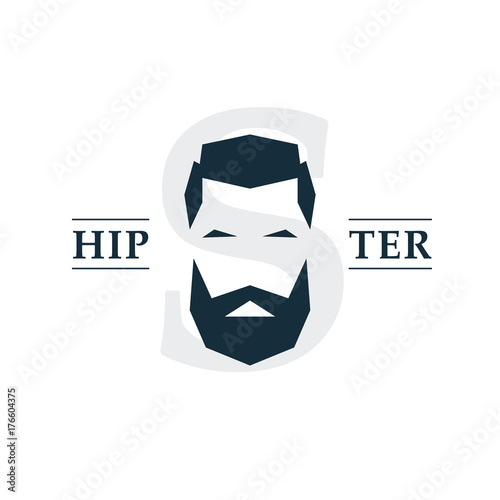 Obraz na plátně The bearded hipster emblem