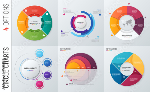 Photo  Collection of vector circle chart infographic templates for presentations, advertising, layouts, annual reports