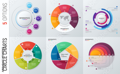 Fotografía  Collection of vector circle chart infographic templates for presentations, advertising, layouts, annual reports