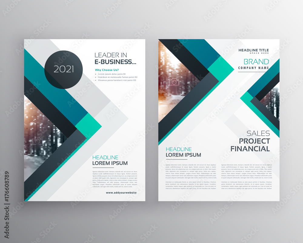 Fototapeta abstract blue business brochure flyer design template with triangle shapes