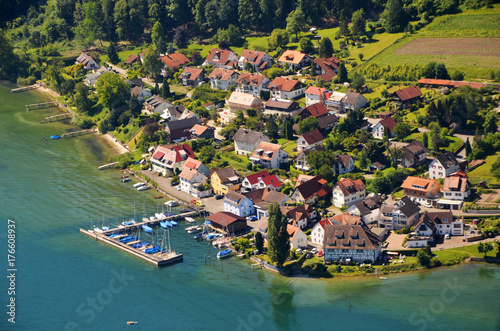Printed kitchen splashbacks Australia Aerial view of Lake Constance near Bodman Ludwigshafen, southern region in Germany on a sunny summer day