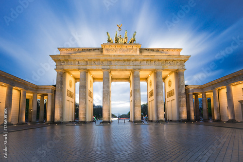 Poster Berlin Dramatic sky with Brandenburg gate in Berlin city, Germany