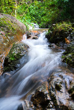 Close Up Little Waterfall On Stream At Chiangmai Province, Thailand To Make Feeling Fresh,cheerful And Cool