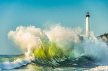 Huge Wave In Biarritz, France