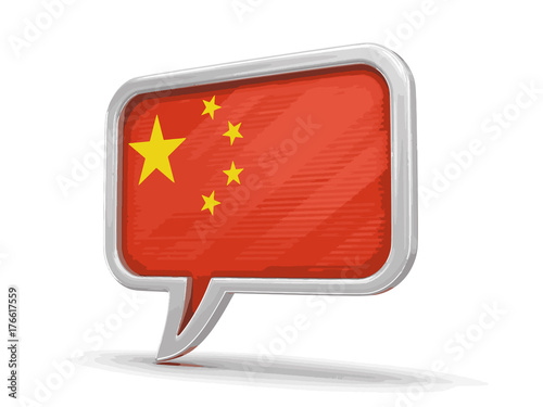 Photo Speech bubble with Chinese flag. Image with clipping path