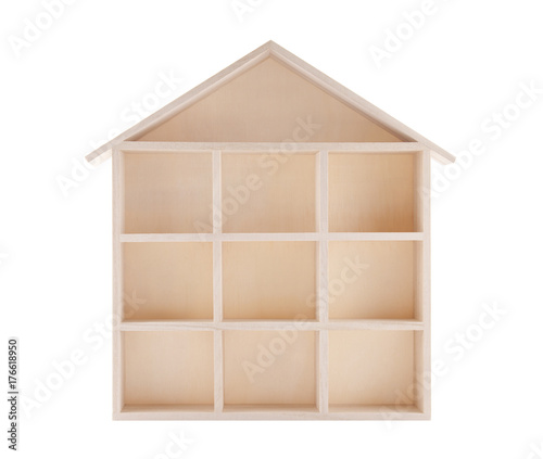 Valokuvatapetti Wooden house shaped shelf isolated on white