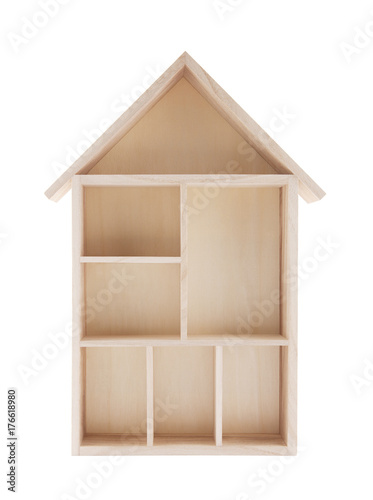 Wooden house shaped shelf isolated on white Wallpaper Mural