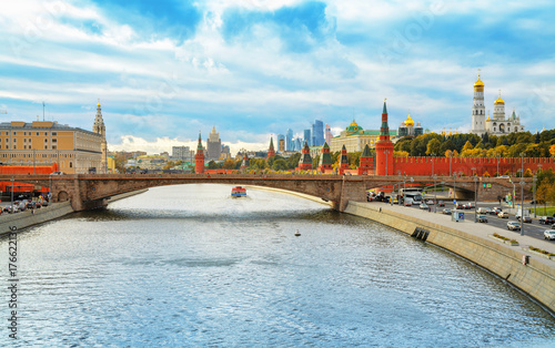 Obraz na dibondzie (fotoboard) Świątynia Sprawiedliwego Anny Poczęcie i Kotelnicheskaya Nasyp Budynek w Moskwie, Rosja.