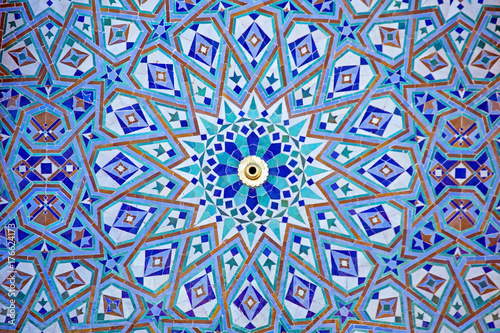 Obraz na plátne Tiles from the Hassan II Mosque Casablanca Morocco