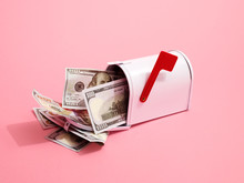 Mailbox Containing US Dollar Bills With Red Flag On Pink Background