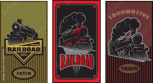 Set of colorful retro posters with a vintage locomotive. Vector illustration