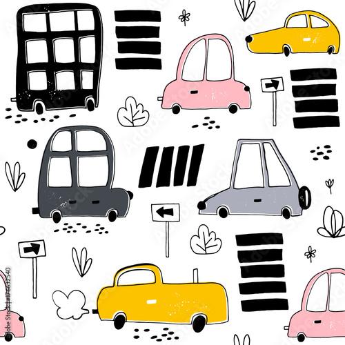 wzor-z-recznie-rysowane-ladny-samochod-kreskowka-samochody-znak-drogowy-ilustracja-wektorowa-przejscie-dla-pieszych-idealny-dla-dzieci-tkaniny-tekstylia-tapety-przedszkola