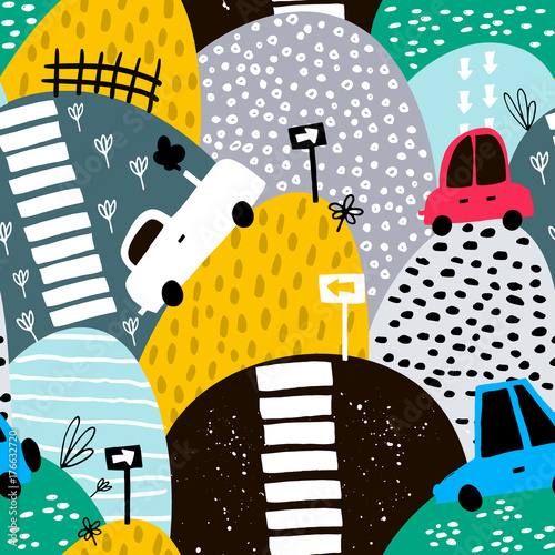 Tela Seamless pattern with hand drawn cute car and hills