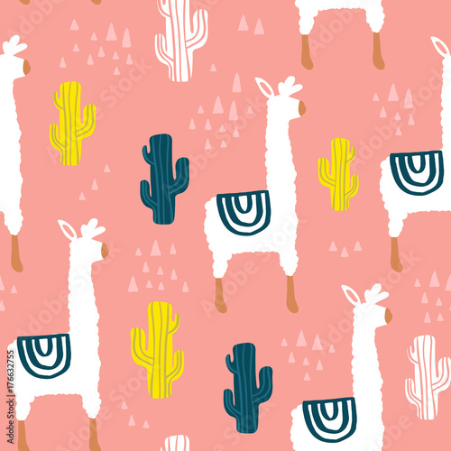 Cotton fabric Seamless pattern with lamma, cactus and hand drawn elements. Childish texture. Great for fabric, textile Vector Illustration