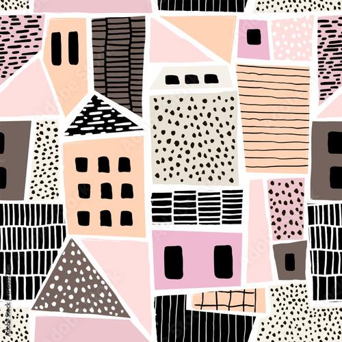 abstrakcjonistyczny-bezszwowy-wzor-z-domami-z-reki-rysowac-teksturami-i-ksztaltami-idealny-do-tkanin-tkanin-tapet-ilustracja-wektorowa