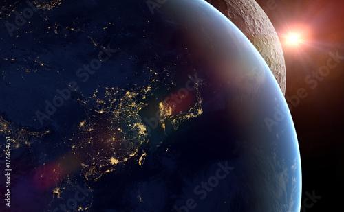 Fototapeta zachód słońca nad planetą Ziemia i księżyc