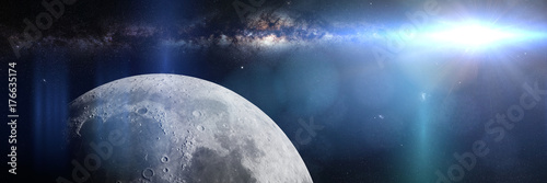 Fototapeta Księżyc przed galaktyką Mlecznej Drogi i Słońcem