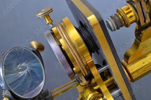 Vintage Brass Microscope Wallpaper Mural